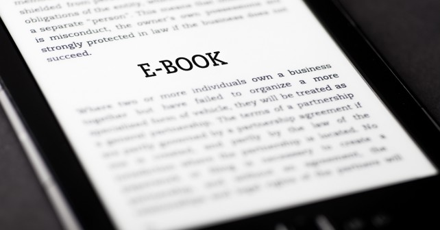 E-book on tablet pc touchpad, ebook concept